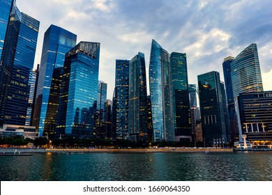 Financial and business district of Singapore at evening