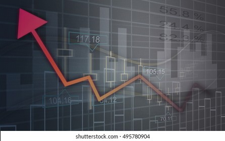 Financial and business graphs, Finance concept on led screen