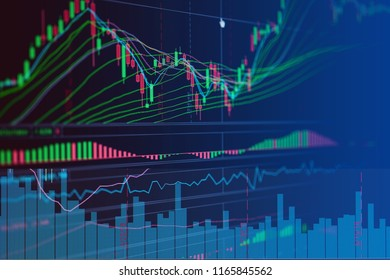 financial business stock market graph chart candle stick screen monitor