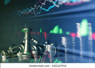 financial business strategy ideas concept with chess and stock chart market virtual trading
