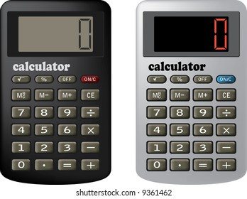 The financial calculator. Raster vector illustration. It is isolated on a white background.