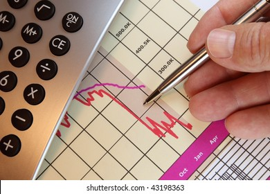 Financial chart, market's falling, calculator, pen, human hand.