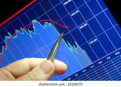 Financial chart on computer monitor, market's declining, hand and pen pointer