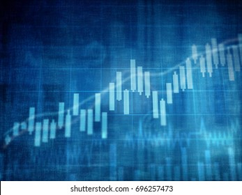 financial charts and graphs background . candle stick on screen , illustration