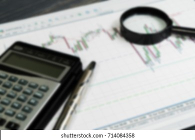 Financial charts, market analysis blurred abstract background