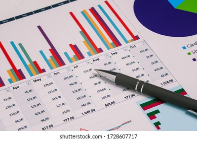 Financial charts and a pen on the desktop. Data analysis and revenue forecast. Accounting and Finance. Rank research and statistical figures.