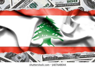 Financial concept with banknotes of US currency around national flag of Lebanon
