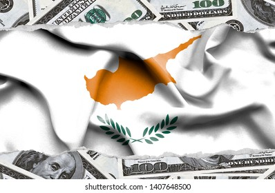 Financial concept with banknotes of US currency around national flag of Cyprus