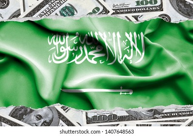 Financial concept with banknotes of US currency around national flag of Saudi Arabia