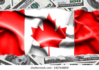 Financial concept with banknotes of US currency around national flag of Canada