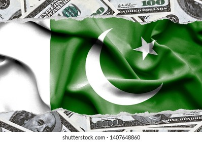 Financial concept with banknotes of US currency around national flag of Pakistan