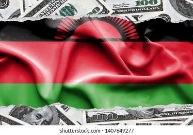 Financial concept with banknotes of US currency around national flag of Malawi