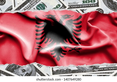 Financial concept with banknotes of US currency around national flag of Albania