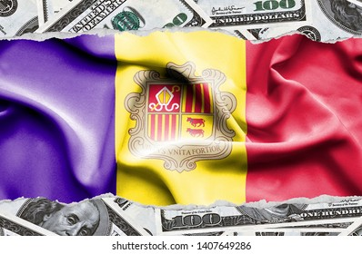 Financial concept with banknotes of US currency around national flag of Andorra