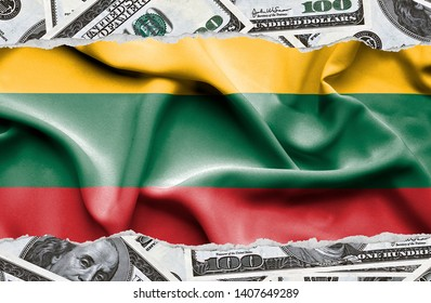 Financial concept with banknotes of US currency around national flag of Lithuania