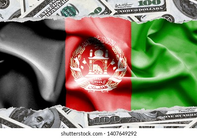 Financial concept with banknotes of US currency around national flag of Afghanistan