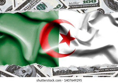 Financial concept with banknotes of US currency around national flag of Algeria
