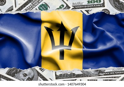 Financial concept with banknotes of US currency around national flag of Barbados