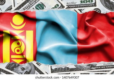 Financial concept with banknotes of US currency around national flag of Mongolia