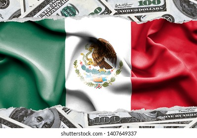 Financial concept with banknotes of US currency around national flag of Mexico