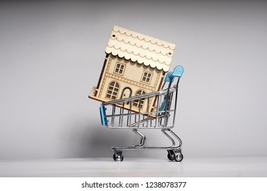 Financial concept image. Mini house on shopping trolley.