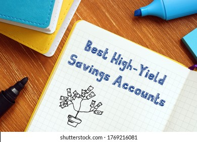 Financial concept meaning Best High-Yield Savings Accounts with sign on the sheet.