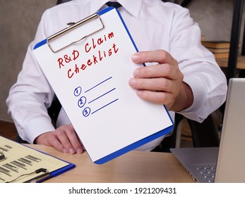 Financial concept meaning Research Development R D Claim Checklist with sign on the sheet.