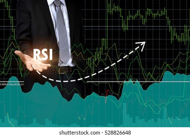 """Financial Concept. Relative Strength Index """" RSI"""" words in white color on hands of  young business man expectations have improved. Good for investment."""
