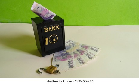 financial concept of risk of giving your money to savings account to shady bank or financial institutions, even safe vault in bank is not safe from fraud by swindlers, banknotes from Czech Republic