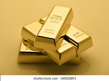 Financial concept. Set of gold bars.