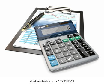 Financial concept. Stock chart with calculator and pen.