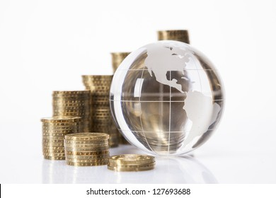 Financial concept. World and money isolated on white background