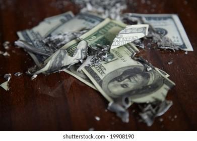 Financial crash. The burned down money