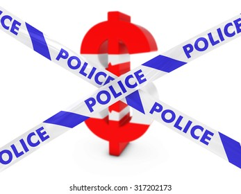 Financial Crime Concept - Dollar Symbol textured with the Canadian Flag behind Police Tape