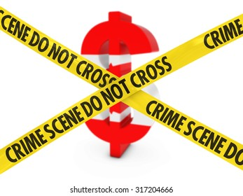 Financial Crime Concept - Dollar Symbol textured with the Canadian Flag behind Crime Scene Tape