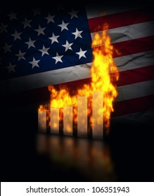 Financial crisis in America, conceptual image. Burning graph charts against USA flag.