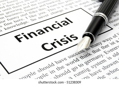 financial crisis concept with fake newspaper showing economic downturn