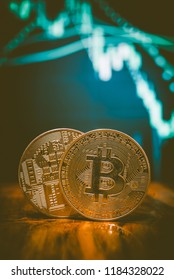 Financial cryptocurrency coin for trading in money exchange market. Top of digital currency which including of Bitcoin(BT) and Ethereum coin(ETC).