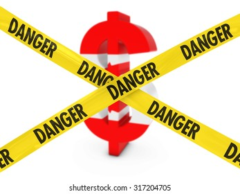 Financial Danger Concept - Dollar Symbol textured with the Canadian Flag behind Danger Tape