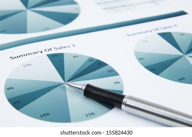 Financial data analyzing. Graphs and charts