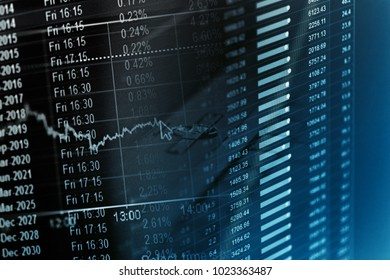 Financial data on a monitor. Finance data concept.