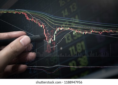 Financial data on a monitor as Finance data concept. Analytics report status information of stock market in digital screen. which including of candle stick trend and digital number symbol.