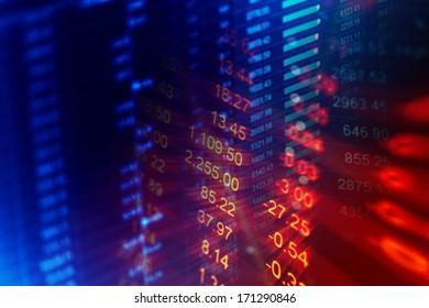 Financial data on a monitor. Finance data concept.