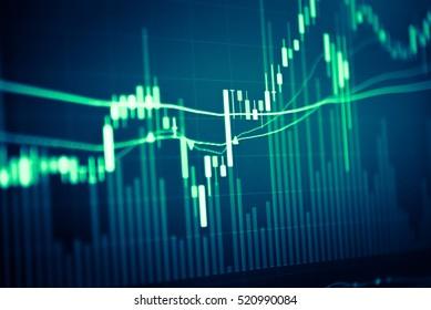 Finanzdaten auf einem Monitor als Finanzdatenkonzept. Analytics Report Status Information Analysis Diagramm Graph in digitalem Bildschirm. Geschäftsanalyse von Finanzstatistiken auf dem Tablettenbildschirm.