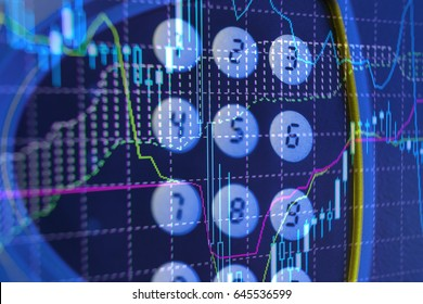 Financial data on a monitor. Finance data concept. stock market pricing abstract. Business background. Market Analyze.Bar graphs, diagrams, financial figures. Forex