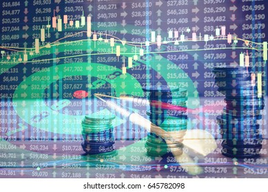 Financial data on a monitor as Finance data concept. Analytics Report Status Information Analysis Chart Graph in digital screen. Business analyzing financial statistics displayed on the tablet screen.