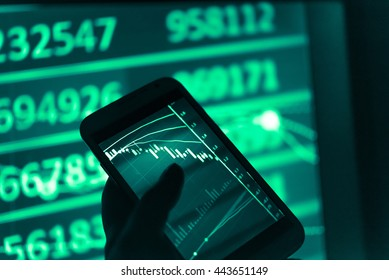 Financial data on a monitor which including of Market Analyze. Bar graphs, Diagrams, financial figures. Forex chart. - Finance data concept.