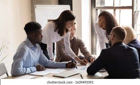 Financial department attend at financial results report analysis, executives planning pondering thinking together gather at boardroom, brainstorming participating at seminar corporate workshop concept