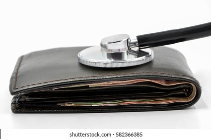Financial diagnosis concept, stethoscope listen on wallet on white background.