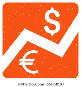 Financial Diagram grainy textured icon for overlay watermark stamps. Flat symbol with unclean texture. Dotted glyph orange ink rubber seal stamp with grunge design on a white background.